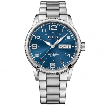Hugo Boss Silver/Blue Pilot Edition Watch