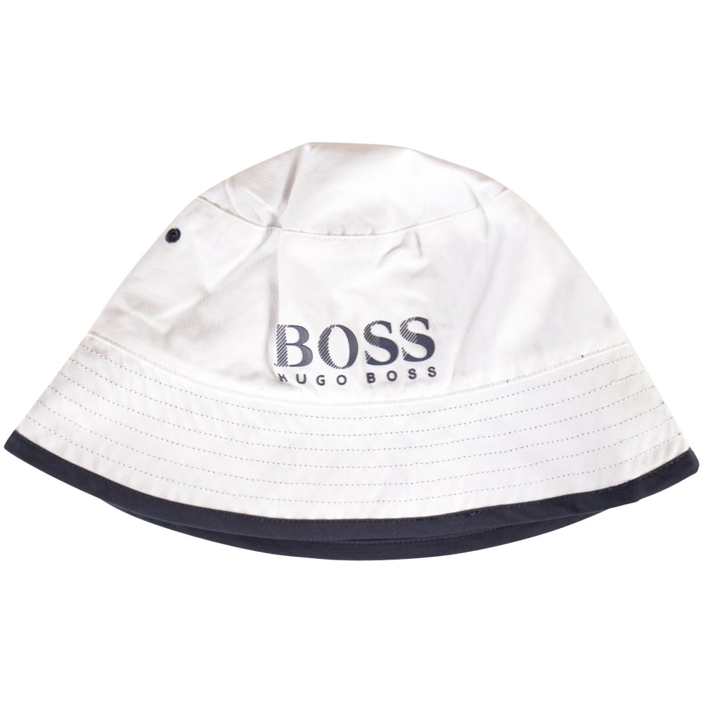 HUGO BOSS Hugo Boss White Navy Reversible Bucket Hat - Men from ... 32e0a41fde6