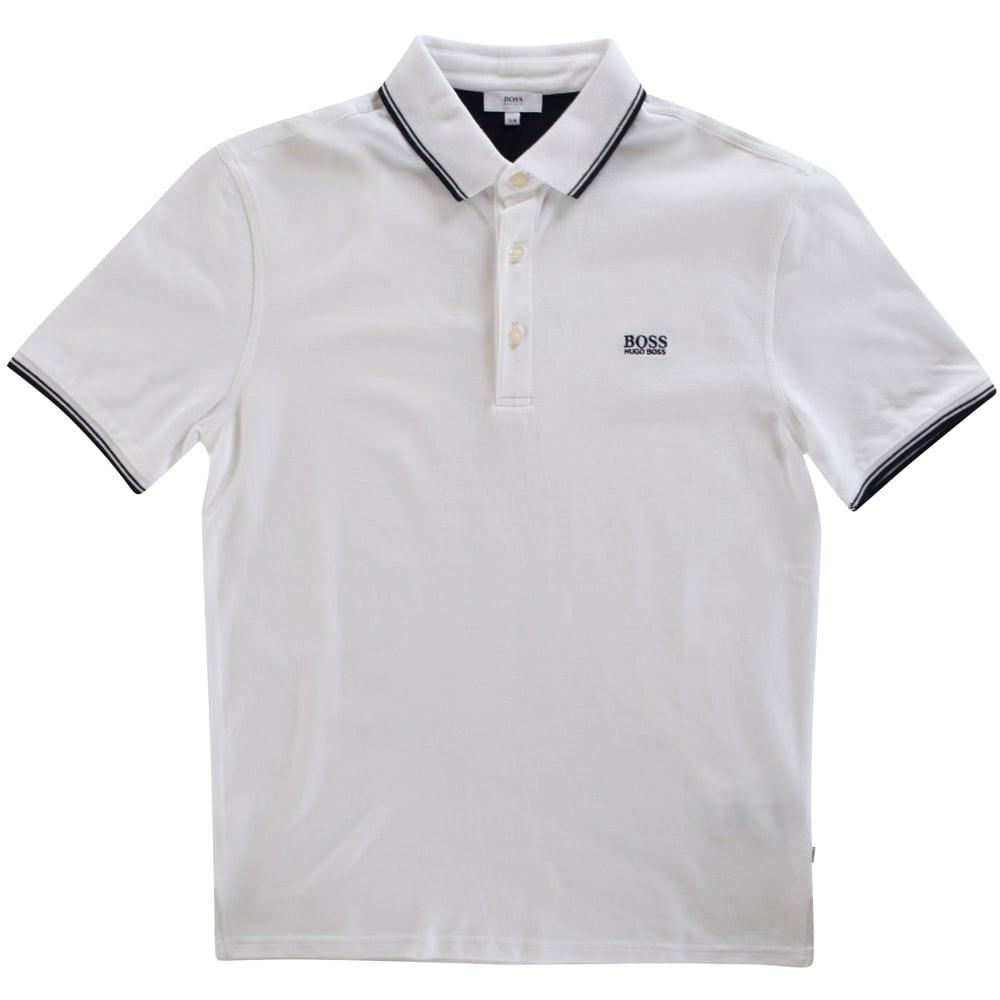d0333a9de HUGO BOSS JUNIOR Hugo Boss White Short Sleeved Polo Shirt - Junior ...