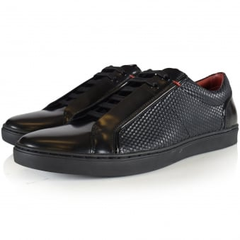 Hugo by Hugo Boss Post Tenn Black Textured Leather Trainers