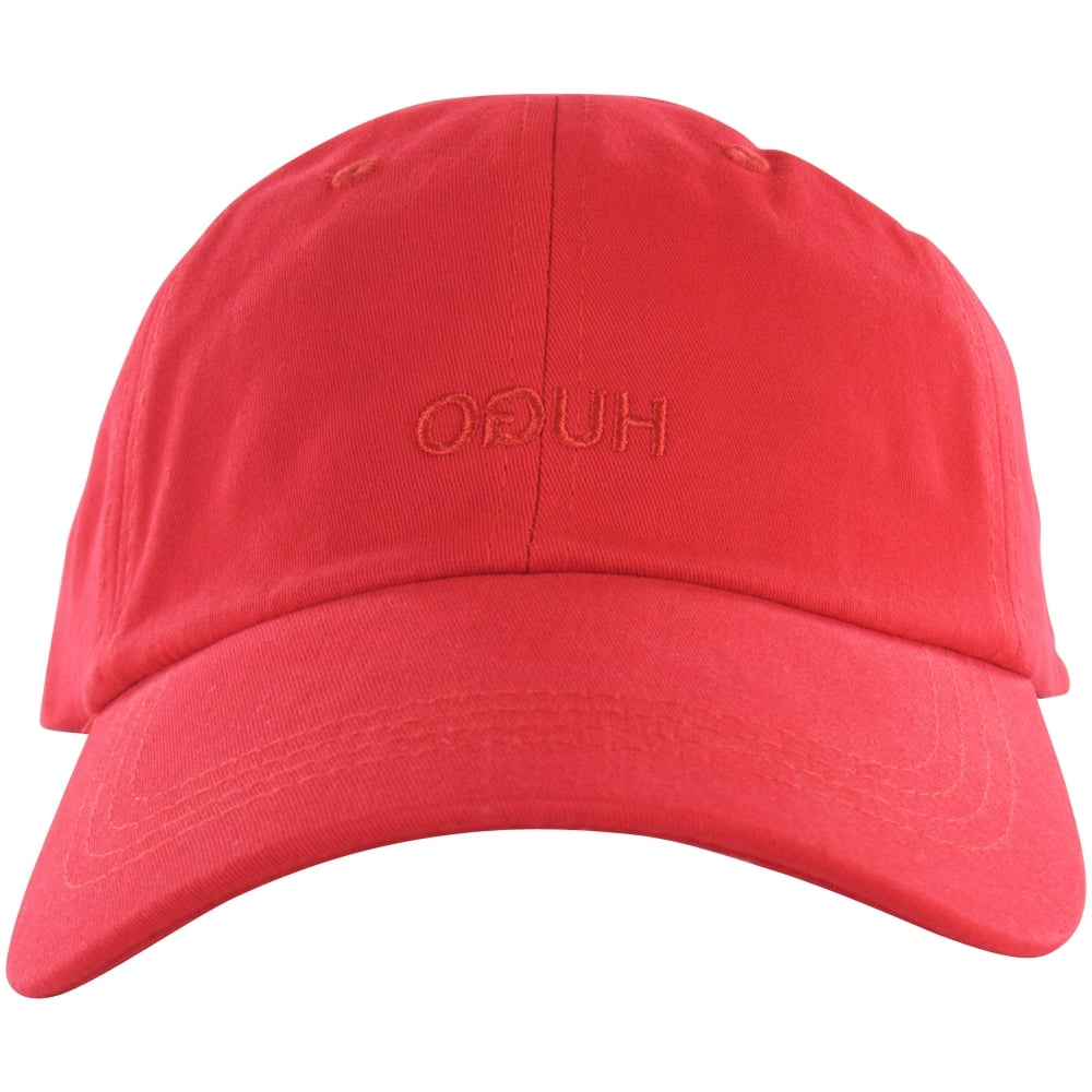 82fab729c6e7ad HUGO Red Reverse Text Baseball Cap - Men from Brother2Brother UK