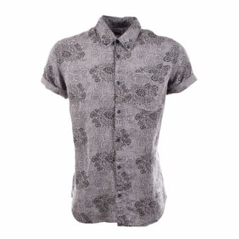 I017214.1C.67 Greyscale Mono Print Short Sleeved Shirt