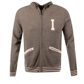 Iceberg Knitted Grey Zip Through Hoodie