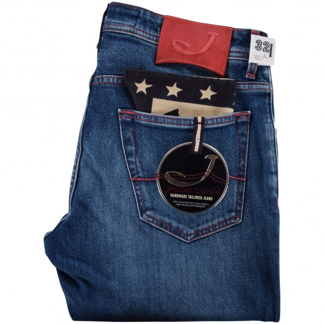 JACOB COHEN Blue Denim Handmade Jeans With Red Detailing