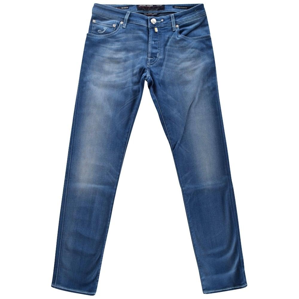 Jacob cohen jacob cohen mid wash slim fit denim jeans - Jacob cohen denim ...
