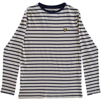 Junior Boys Off White/Blue Stripe LS T-Shirt
