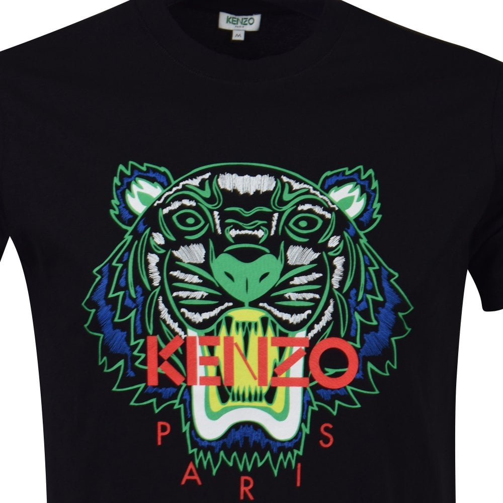 630696eaaf2 KENZO Black Green Contrast Tiger Head T-Shirt - Department from ...