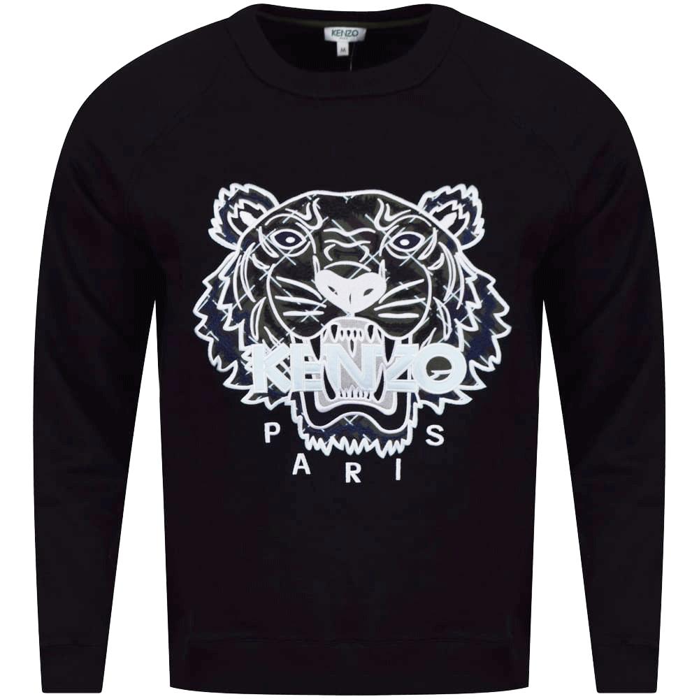 KENZO Kenzo Black Khaki Check Tiger Logo Sweatshirt - Men from ... ccf29a152
