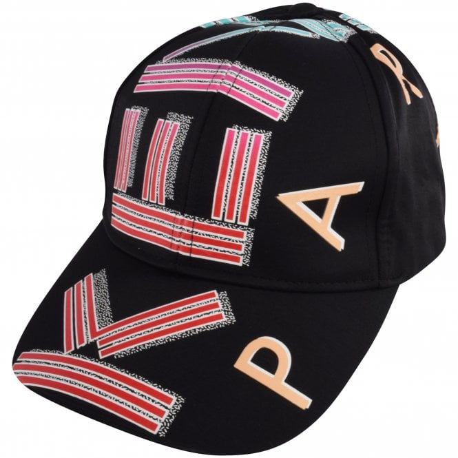 KENZO Black Logo Print Cap Side