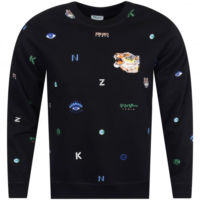 2d07201e8 KENZO Kenzo Black Multi Print Logo Sweatshirt - Department from ...