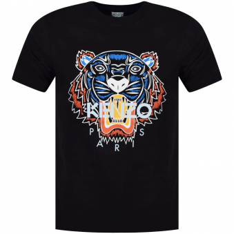 Kenzo Black Short Sleeved Tiger Logo T-Shirt