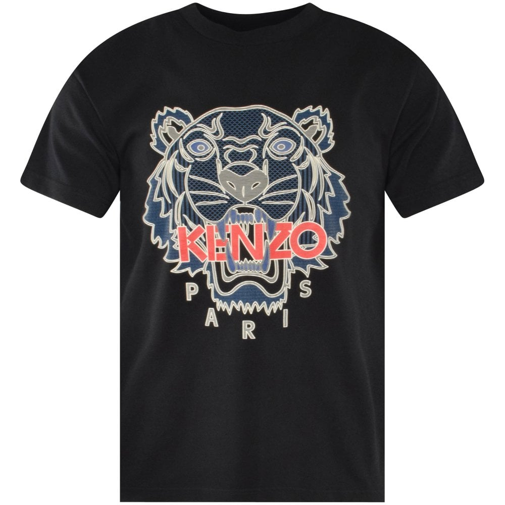 Black t-shirt with Kenzo Paris tiger logo in navy and red