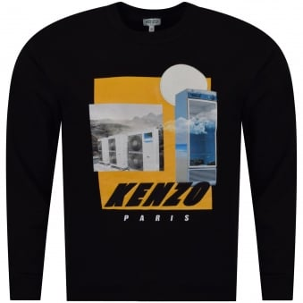 Kenzo Black Tropical Ice Embroidered Graphic Sweatshirt