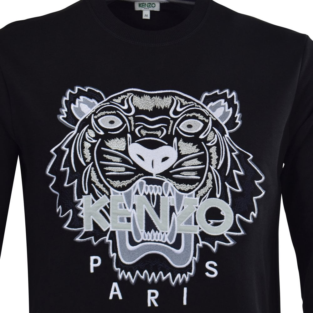 8719ac00 KENZO Black/White Embroidered Tiger Sweatshirt - Department from ...