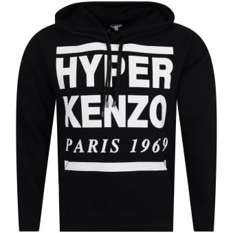 Kenzo Black/White Hyper Text Pullover Hoodie