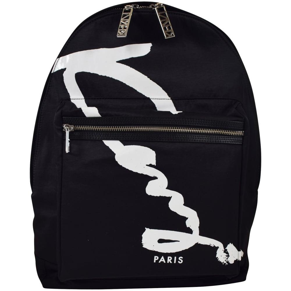 2bf3cdca75 KENZO Kenzo Black/White Signature Nylon Backpack - Department from ...