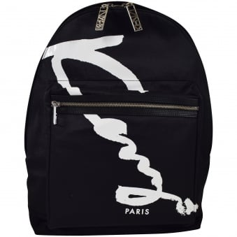 Kenzo Black/White Signature Nylon Backpack