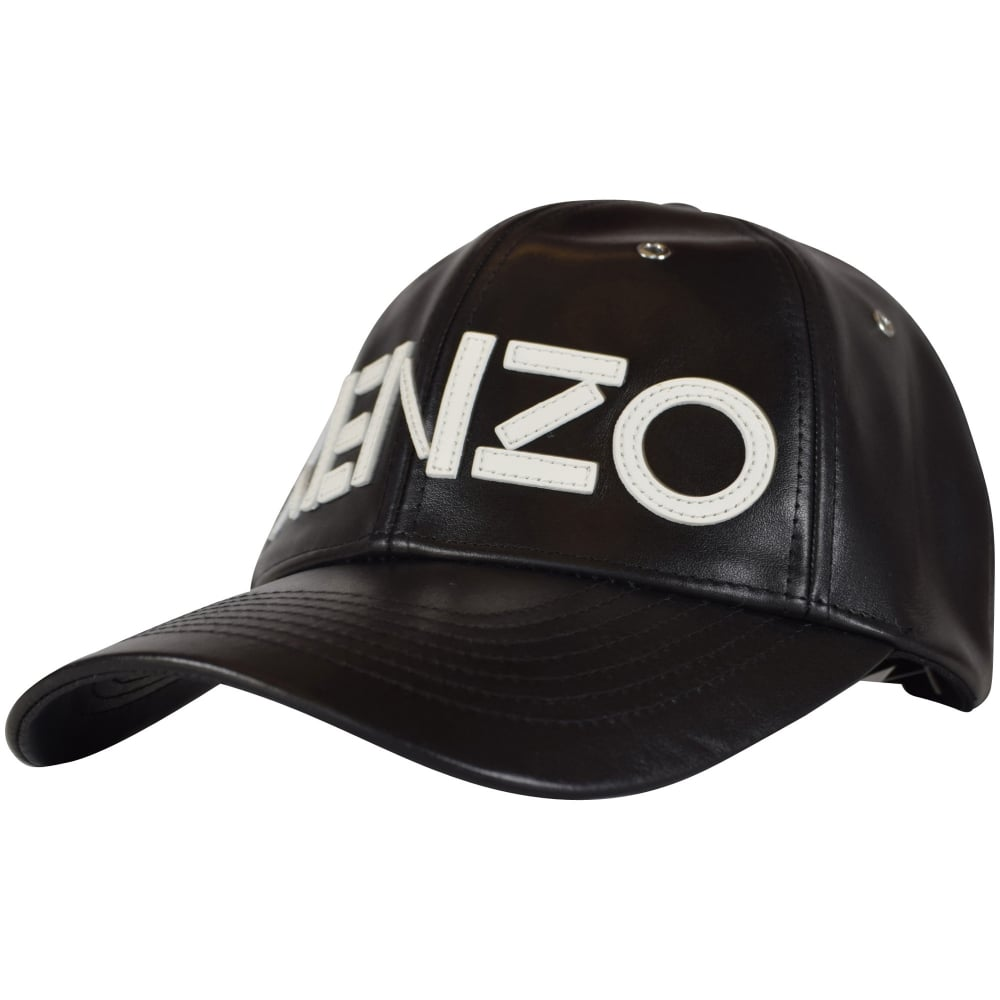 d286b43b3ce KENZO Kenzo Black White Text Leather Cap - Men from Brother2Brother UK