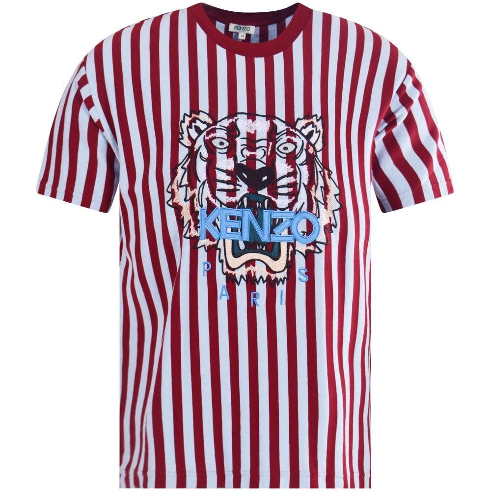 51e4c362 KENZO Kenzo Blue/Burgundy Stripe Tiger T-Shirt - Department from ...