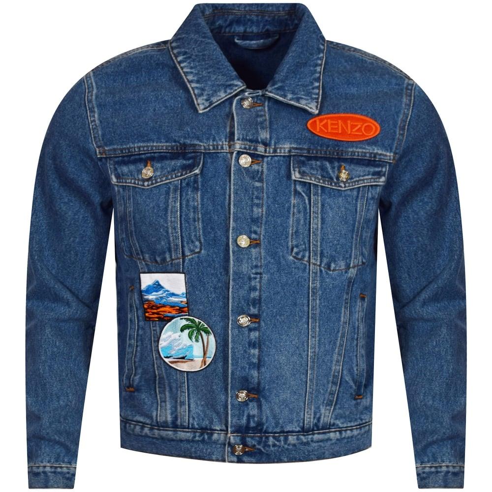 6a15d260a KENZO Kenzo Blue Denim Jacket With Badges