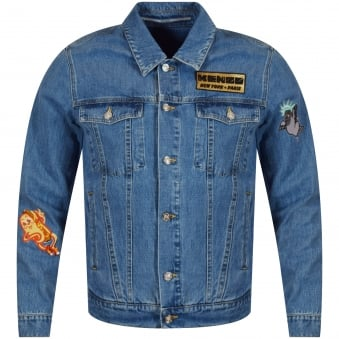 Kenzo Blue Denim Patch Logo Jacket