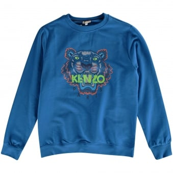 Kenzo Boys Blue Tiger Crew Neck Sweatshirt