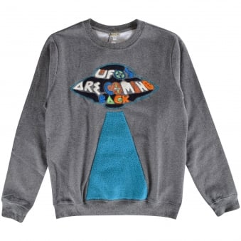 Kenzo Boys Dark Grey UFO Crew Neck Sweatshirt