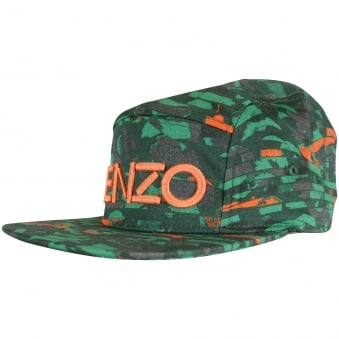 Kenzo Boys Green/Orange Logo Strapback Cap
