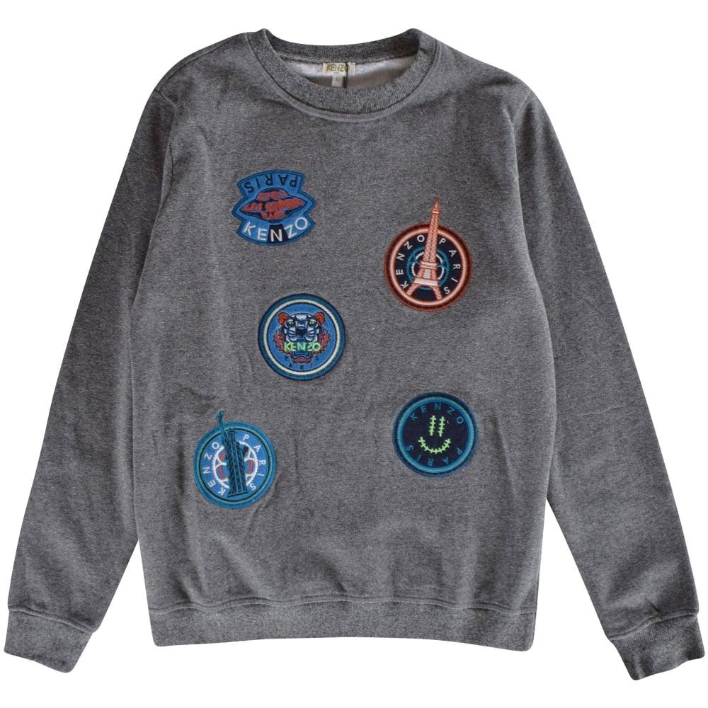 34262caea8c KENZO JUNIOR Kenzo Boys Grey Patch Crew Neck Sweatshirt - Junior ...