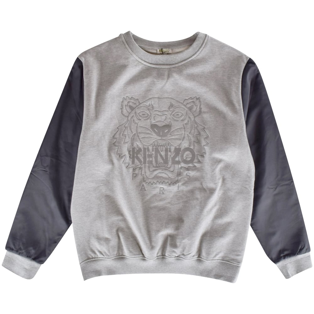 c902d928398 KENZO JUNIOR Kenzo Boys Grey Tiger Crew Neck Sweatshirt - Junior ...
