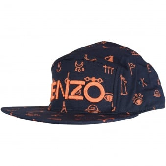 Kenzo Boys Navy/Orange Logo Strapback Cap