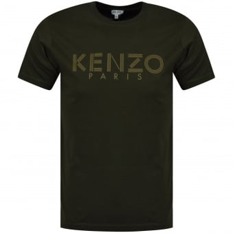 Kenzo Classic Dark Khaki T-Shirt With Written Logo