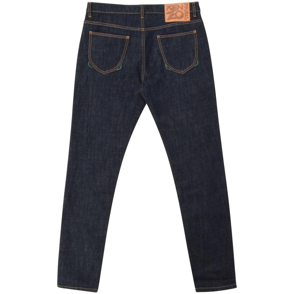 rear of Kenzo slim dark blue men's jeans