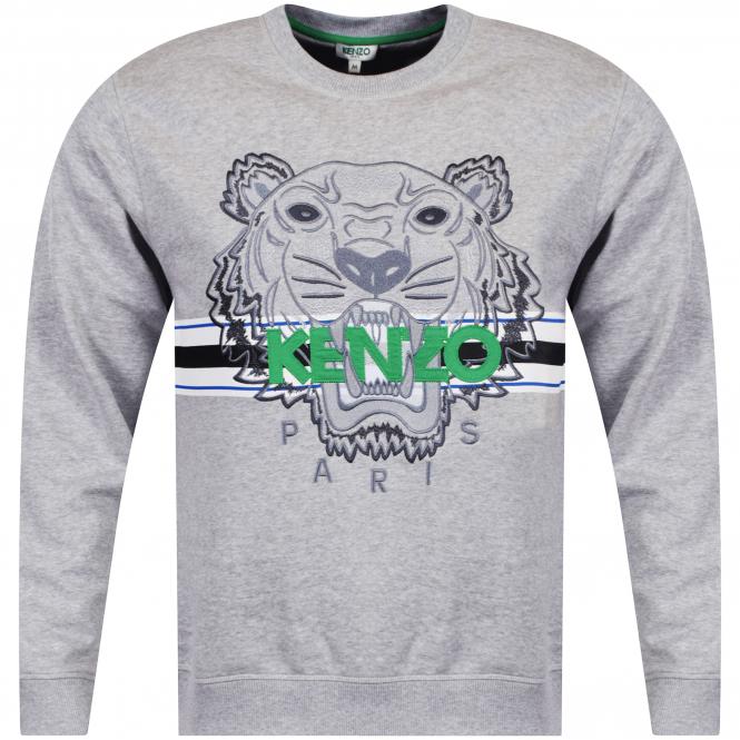 f56c23d83 KENZO Kenzo Grey/Green Tiger Stripe Logo Sweatshirt - Department ...