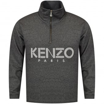 Kenzo Grey Ribbed Funnel Collar Sweatshirt