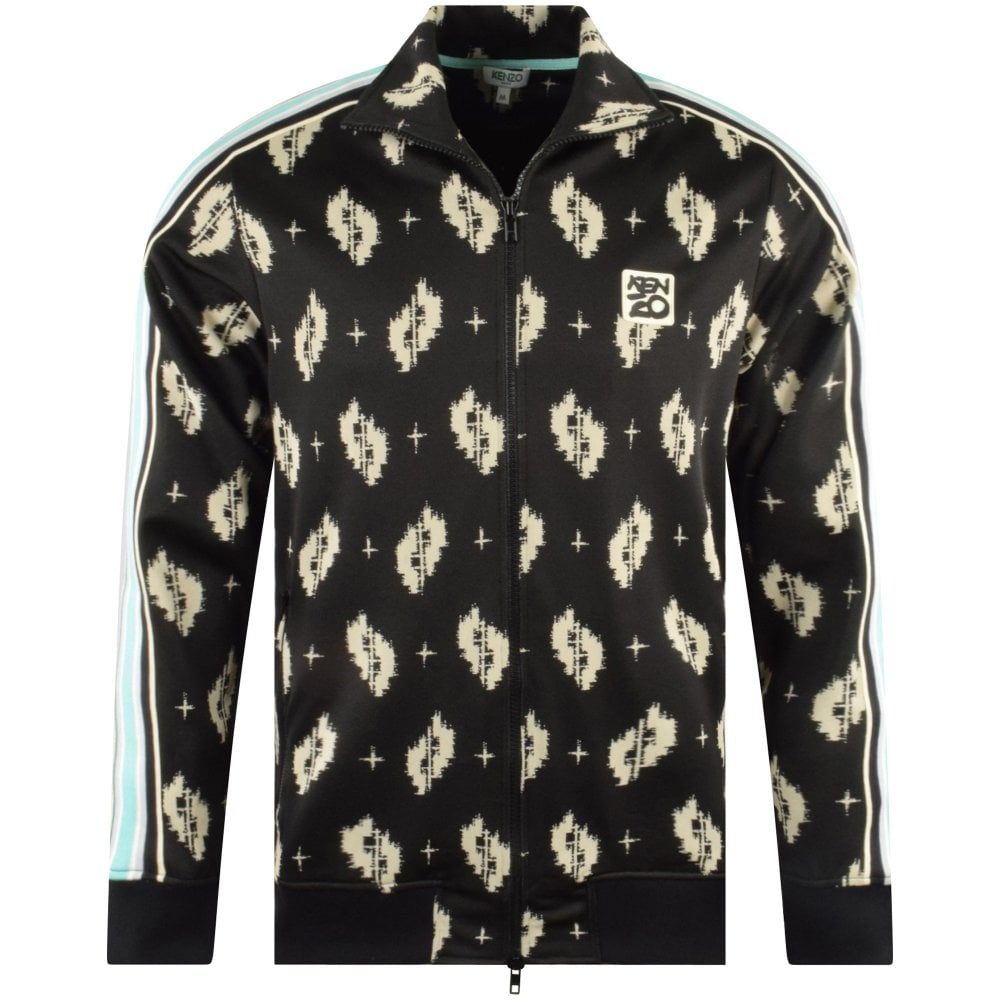 black collared jacket with kenzo logo light blue stripes and abstract print