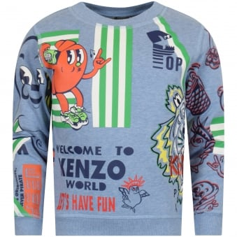 Kenzo Junior Blue Cartoon Sweatshirt