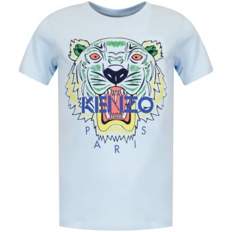 Blue Grey Tiger Print T-Shirt