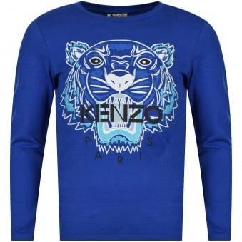 Kenzo Junior Blue/White Tiger Logo Long Sleeve T-Shirt