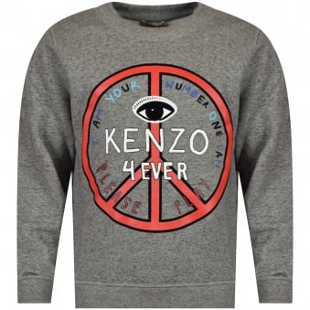 Kenzo Junior Dark Grey/Red Peace Logo Sweatshirt