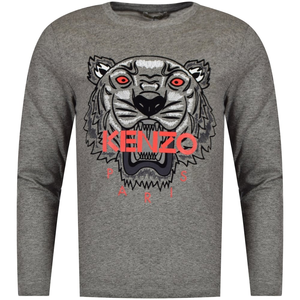 kenzo junior kenzo junior dark grey red tiger logo long sleeve t shirt junior from. Black Bedroom Furniture Sets. Home Design Ideas