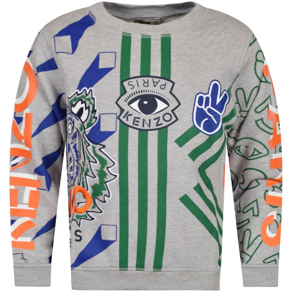 5e2ce76db Kenzo Junior Grey/Multi Print Logo Sweatshirt