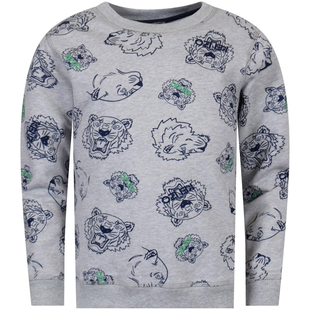 KENZO JUNIOR Kenzo Junior Grey Multi-Print Sweatshirt - Junior from ... c513429a6595