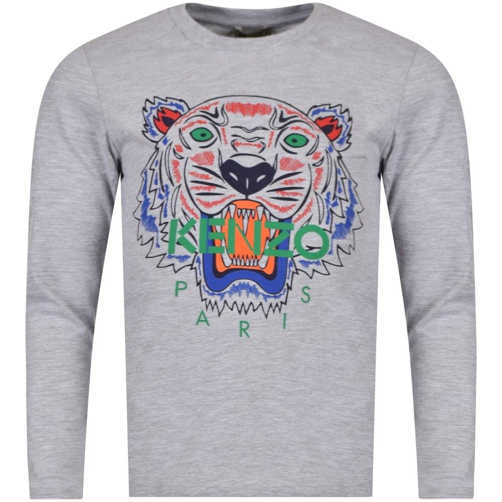 bbb43a5cceb2 KENZO JUNIOR Kenzo Junior Grey Tiger Logo Long Sleeve T-Shirt ...