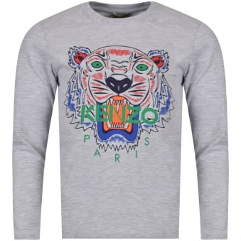 Kenzo Junior Grey Tiger Logo Long Sleeve T-Shirt