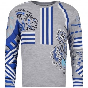 Kenzo Junior Grey/White/Blue Multi Print Logo Long Sleeve T-Shirt