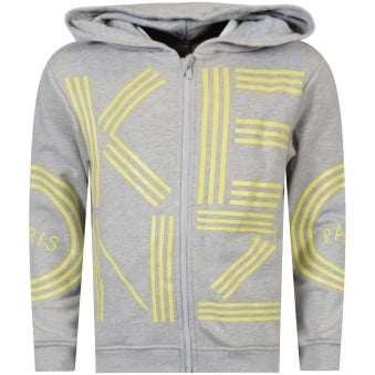Grey/Yellow Large Text Hoodie