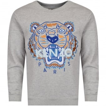 Kenzo Junior Light Grey Tiger Logo Sweatshirt