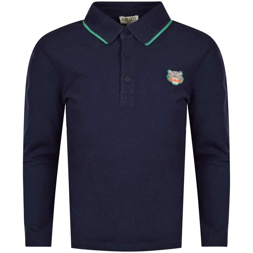 f0b500ca5c Navy Tiger Logo Long Sleeve Polo Shirt