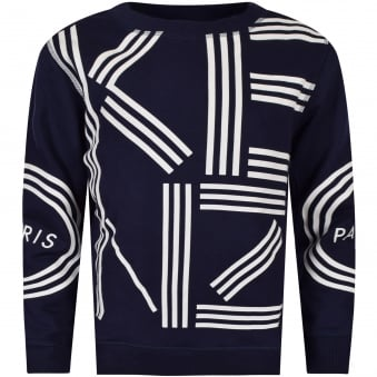 Kenzo Junior Navy/White Large Text Logo Sweatshirt